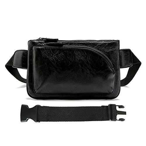 Extension Pocket - YingOnly Synthetic Leather Waist Pack Chest Bag Multi Pockets Belt Pouch with Card Slots & Extension Strap (Black-upgraded)