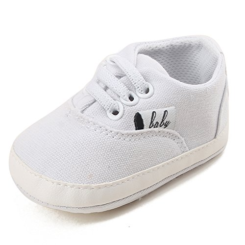 OOSAKU Baby Canvas Lace Up Toddler Sneaker Anti-slip - Infant Canvas Shoes White
