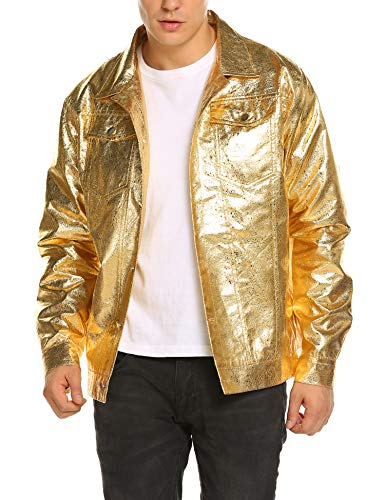 COOFANDY Men's Metallic Trucker Jacket Party Dance Disco Nightclub Jacket Hip Hop Gold Silver Leather Jackets (Denim Jacket Custom)