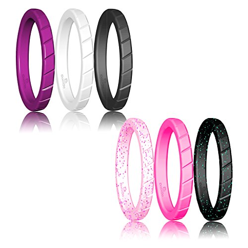 DoerDo Thin Silicone Wedding Ring Stackable ring For Women By, Affordable Rubber Wedding Bands For Active Style - 6 & 8 Rings Pack