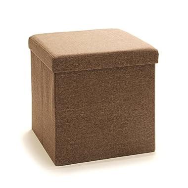 Seville Classics Foldable Storage Cube/Ottoman, Tan Brown