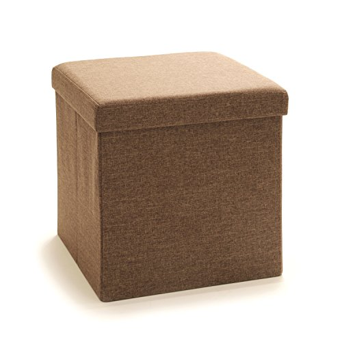 Seville Classics Foldable Storage Cube/Ottoman, Tan Brown