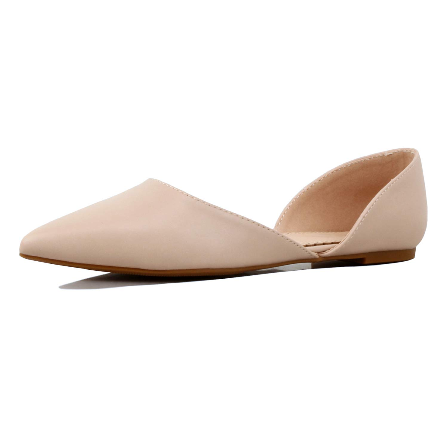 01 Natural Pu Guilty Heart Womens D'Orsay Almond Pointed Toe Slip On Casual Flats