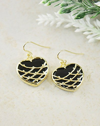 SIVALYA WILDFLOWER Heart Black Onyx Gold Vermeil Earrings, 925 Sterling Silver with 14K Gold Plating, Openable Frame Earrings – wear with or without the stone, Great Gift for (Sterling Vermeil Earrings)