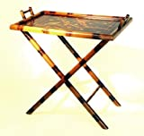 Wayborn Home Furnishing Hand Painted Bamboo Serving Table/Tray, Multicolored