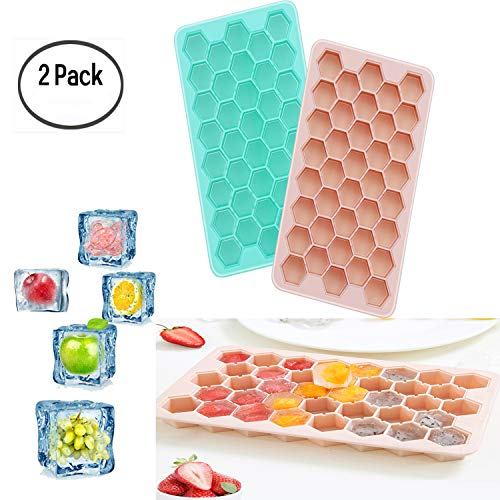 2pcs Silicone Ice Cube Trays, Easy Release Honeycomb Shape Ice Molds, Ice Cube Mold for Chilling Bourbon Whiskey, Cocktail, Beverages. (38 Cubes) -