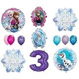 LoonBalloon FROZEN Anna ELSA OLAF Snowman Snowflake 3rd #3 (12) Birthday Party Balloons Set by LoonBalloon