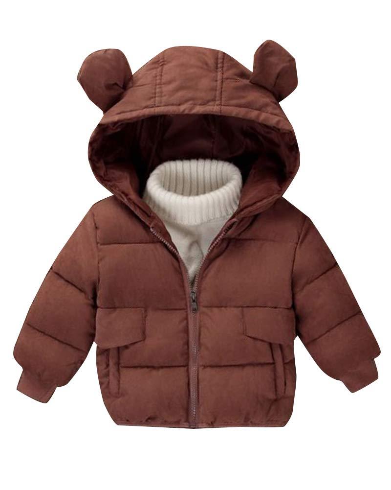 Runyue Bambino Giacche Piumino Invernale Giacca Caldo Cappotti con Cappuccio Parka Giacche Cappotto 3-8 Anni