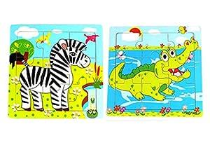Kids Animal Puzzles Wooden Learn Toys Cartoon Educational Jigsaw Puzzle Set of 2-Zebra Crocodile