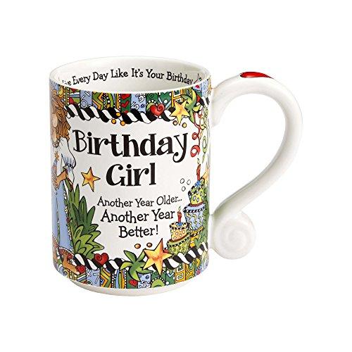 Enesco 4056469 Birthday Girl Stoneware Mug, 14 oz, - Face Identify Shape Your