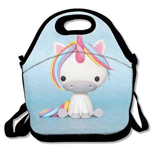 Unicorn Horse Fashionable Insulated Thermos Polyester Backpack Women Men Kids Teen Girls Black Lunch Bag Tote Handbag For School Office