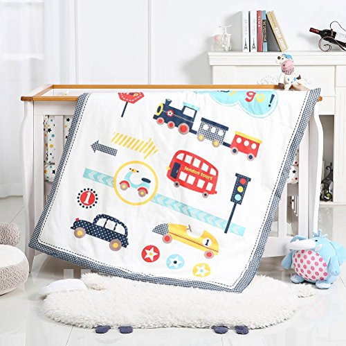 i-baby 9 Piece Nursery Crib Bedding Set for Newborn Baby Infant Crib Sheet Duvet Pillow Bumper Cot and 100% Cotton Printed Cover (Auto World) from i-baby