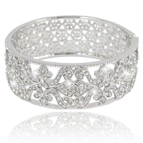 Ever Faith - cristal autrichien Fleur-de-lis de mariée Bracelet Transparent Plaqué Argent N02169-1