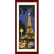 YEESAM ART New Cross Stitch Kits Advanced Patterns for Beginners Kids Adults - Paris Tower 11 CT Stamped 20×49 cm - DIY Needlework Wedding Christmas Gifts