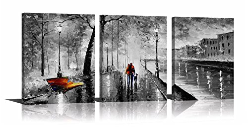 YPY 3 Panel Palette Knife Oil Paintings Abstract Modern City Street View Cityscape Building Artwork Walking Wall Art for Living Room (Black, 12x16in) (3 Panel Painting)