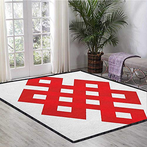 Red Polyester Fiber Area Rugs,Geometric Tangled Lines Forming Square Shapes Border Frame Motif with Zig Zag Details No Chemical Odor Red White 47
