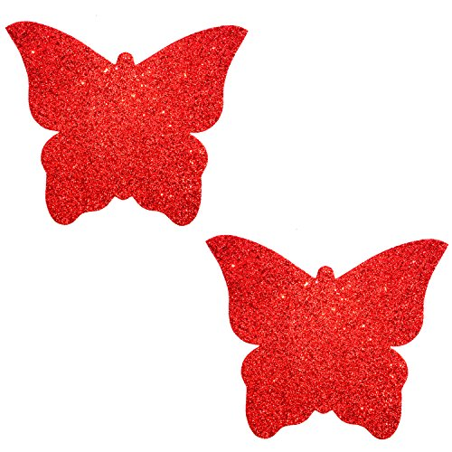 (Neva Nude Ravish Me Red Glitter Butterfly Kisses Nipztix Pasties Nipple)