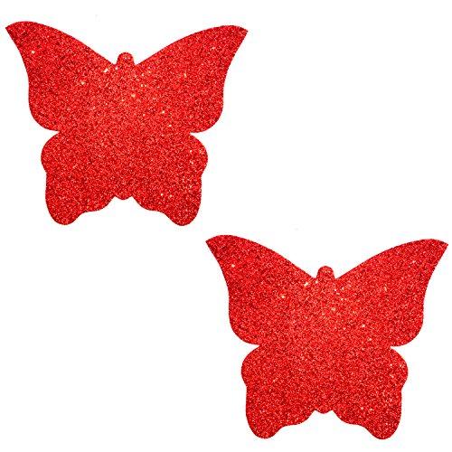 Neva Nude Ravish Me Red Glitter Butterfly Kisses Nipztix Pasties Nipple Covers]()