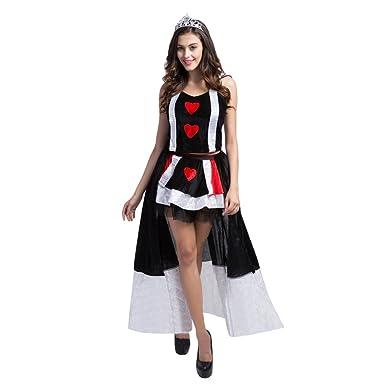 Amazon.com: Womens Queen of Hearts Alice Card Suit Fancy ...
