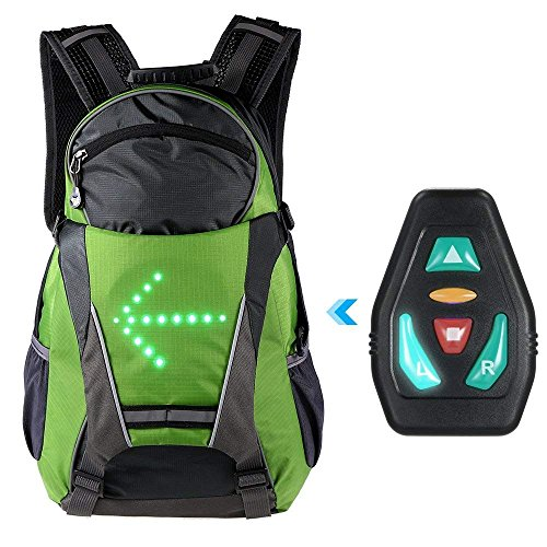 Teeo Cycling Backpack 18L LED Direction Indicator Light | Reflective Green Bag for Outdoor Safety Night Bicycle Bike Riding Running Camping Wireless Control | Directional Turn Signals