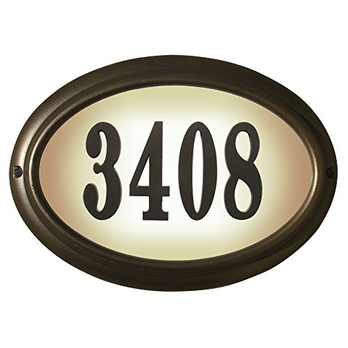 Oval Lighted Address Plaque - Qualarc, Inc. Edgewood Oval Lighted Address Plaque, Oil Rub Bronze LTO-1302-ORB