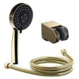 Gold Shower Head Set 7Trees Multi-Function Gold Plating Bathroom Handheld Shower Head with Extra Long Hose and Bracket Holder Set of Shower Package (Set(Shower Head, Hose and Bracket))