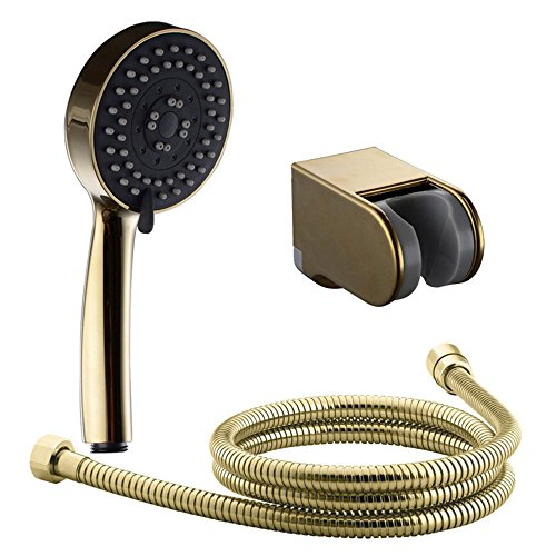 7Trees Multi-Function Gold Plating Bathroom Handheld Shower Head with Extra Long Hose and Bracket Holder Set of Shower Package (Set(Shower Head, Hose and Bracket))