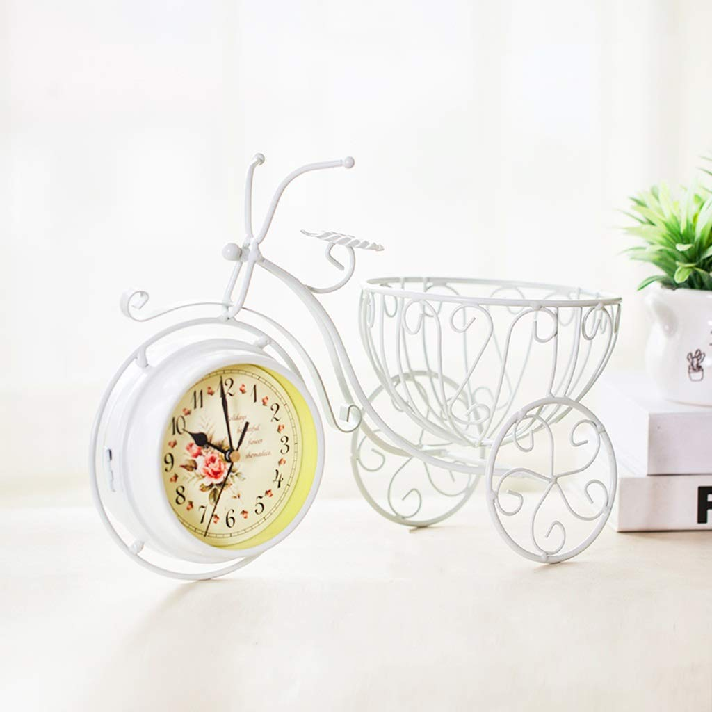 CXQ Creative Home Mute Seat Clock Ornaments Personality Double-Sided Table Clock Living Room Desktop Decoration (Color : White)