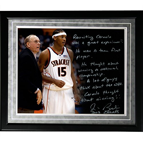 NCAA Syracuse Orange Framed 16x20 Jim Boeheim Facsimile 'Recruiting Carmelo' Story Photo by Steiner Sports
