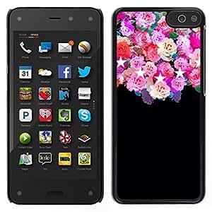 Caucho caso de Shell duro de la cubierta de accesorios de protección BY RAYDREAMMM - Amazon Fire Phone - rosas estrellas negras rosa floral flores