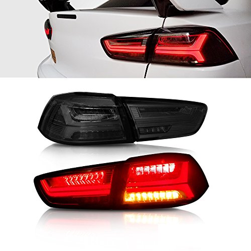 - MOSTPLUS New Updated Smoked LED Tail Lights Rear Lamp for Mitsubishi Lancer EVO 2008-2018 w/Amber Seqential Light