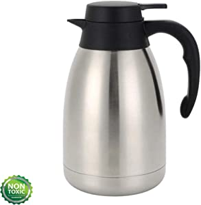 68 Ounce Double Wall Vacuum Thermos Insulated Stainless Steel Carafe Coffee Dispenser 2 Liters (12-24 Hour Heat & Cold Retention 2 Liter)