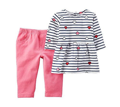 Carter's Baby Girls' 2 Piece Heart Top and French Terry Pants Set 24 Months (2 Piece Set Carters Outfit)
