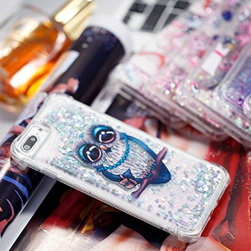 iPhone 7 Plus Hülle iPhone 8 Plus Hülle [mit Frei Panzerglas Displayschutzfolie], BoxTii® Liquid Wasser Glitzer TPU Silikon Hülle für Apple iPhone 7 Plus / 8 Plus, Transparent Weiche Schutzhülle stoßd Silber, Eule