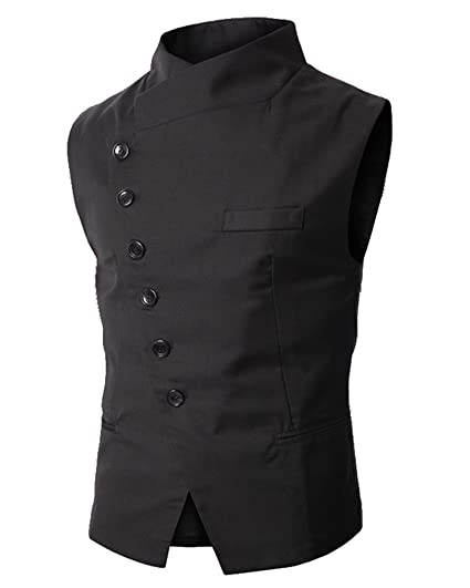 Cenizas Casual Black Waistcoat for Men Slim fit Party wear with 6 Button Cross Design Waistcoats at amazon