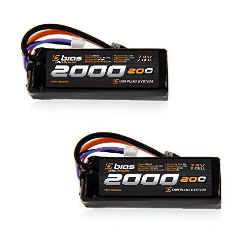 Bias 20C 2S 2000mAh 7.4V LiPo Battery with UNI Plug (EC3/Deans/Traxxas/Tamiya) for RC Car, Truck, Buggy, Boat, Quadcopter, Heli, and Drone x2 Packs