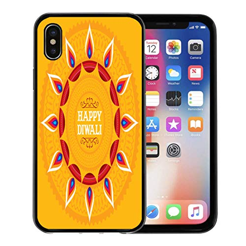 Emvency Phone Case for Apple iPhone Xs Case/iPhone X Case,Festive Artistic Lamp Floral for Festival Celebration in India Soft Rubber Border Decorative, Black