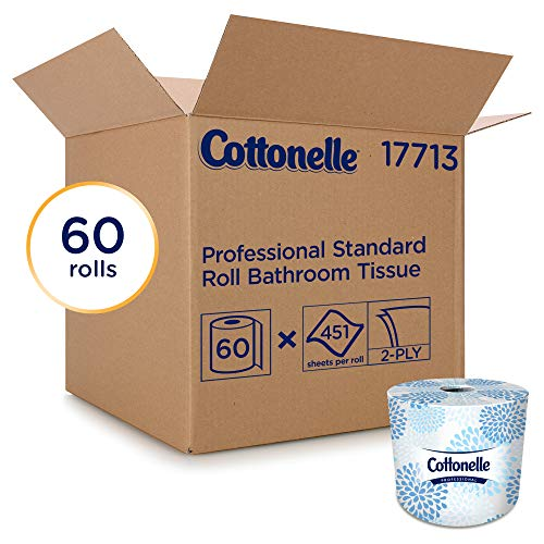 Cottonelle Professional  Bulk Toilet Paper for Business (17713), Standard Toilet Paper Rolls, 2-PLY, White, 60 Rolls / Case, 451 Sheets / Roll from Kimberly-Clark Professional