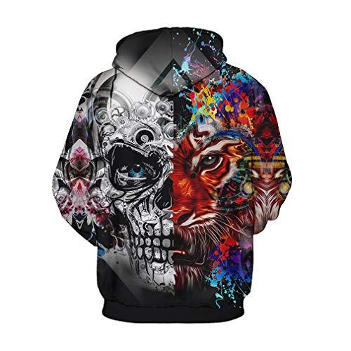 (NEWCOSPLAY Unisex Athletic Hooded Sweatshirts 3D Digital Printed Hoodies Colorful Galaxy Pattern Big Pocket Sweaters (L/XL, Tiger Skull))