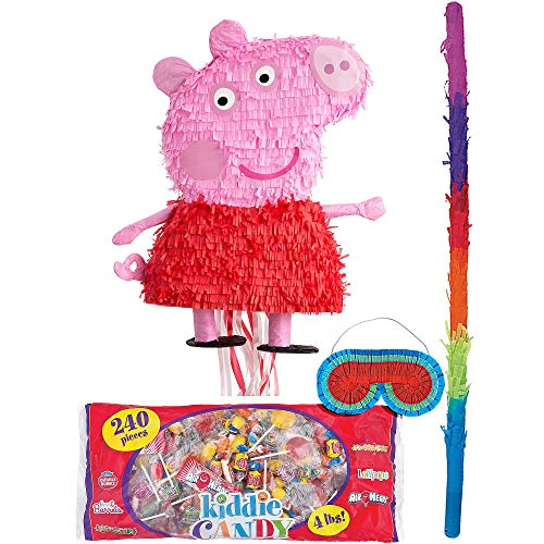 Party City Peppa Pig Pinata Kit for Birthday Party, Includes Bat, Blindfold and Kiddie Candy Mix (4lb bag)