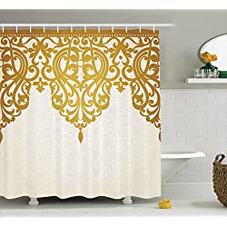 Ambesonne Antique Decor Shower Curtain, Victorian Style Medieval Motifs Classic Baroque Oriental Decorating Shapes Print, Polyester Fabric Bathroom Shower Curtain Set Hooks, Golden Cream