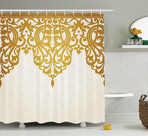 Ambesonne Antique Shower Curtain, Victorian Style Medieval Motifs with Classic Baroque Oriental Shapes Print, Fabric Bathroom Decor Set with Hooks, 75 Inches Long, Pale Brown (Victorian Style Fabric)