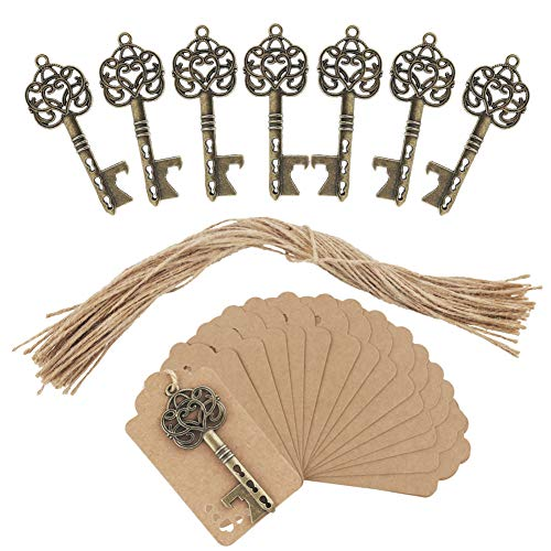 25 SKELETON BOTTLE OPENER KEYS WITH CARDS & TIES