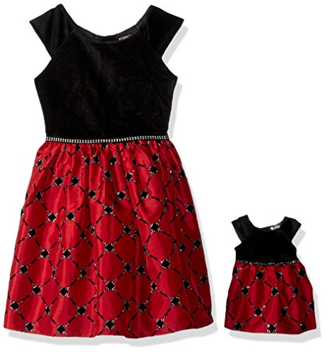 Dollie & Me Big Girls' Cap Sleeve Velvet Christmas Dress With Matching Doll Outfit, Black/Red, 6X (Skirt Fully Velvet Lined)