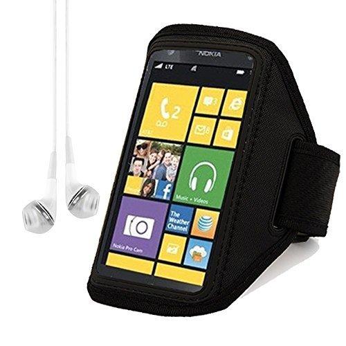 Black Adjustable Workout Sports Armband for Nokia Lumia 1020 Lumia 920 Lumia 520 Lumia 925 Smartphone + VanGoddy Headphone with MIC , White (Armband Nokia Lumia 920)