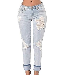 49195b80971db Jeans Femmes Déchiré Slim Fit Jeans Pantalon Skinny Crayon Chic Jeune  Pantalon Boyfriend Couleurs Unies avec