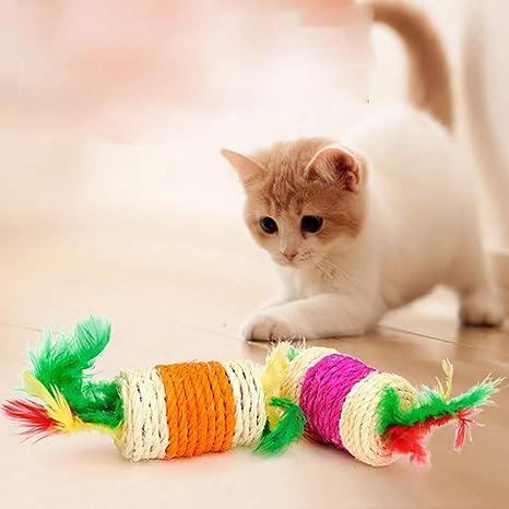 Hemore - Cuerda de sisal interactiva de Juguete para Gatos, Resistente a los arañazos,
