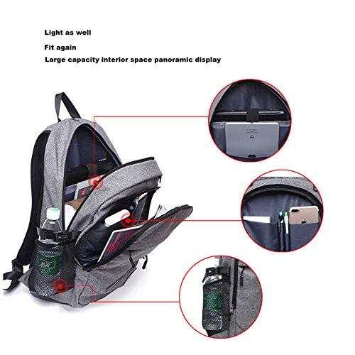 loiee 17pulgadas portátil mochila con puerto de carga USB para hombre y mujer, resistente al agua mochila para portátil College escuela bolsa de viaje, color gris negro negro