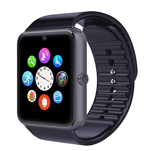 Efanr GT08 Bluetooth Smart Watch Phone Mate Wristband Activity Sport Exercise Fitness Sleep Tracker Health Pedometer with SIM Support NFC for iPhone Samsung Android Smartphones (Black)