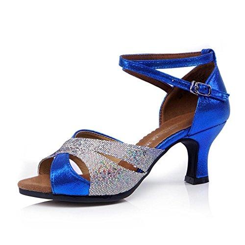 BYLE Sandalias de Cuero Tobillo Modern Jazz Samba Zapatos de Baile Zapatos de Baile Latino de Verano Mujer Zapatos de Baile para Adultos con Fondo Blando Sandalias Azul Onecolor